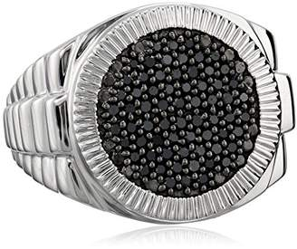 Sterling Silver Diamond Mens Band Ring (1/2 cttw)