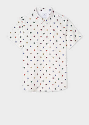 Paul Smith Men's Tailored-Fit White 'Scribble Spot' Short-Sleeve Cotton Shirt