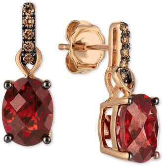 LeVian Le Vian Pomegranate Garnet (3 ct. t.w.) & Diamond (1/10 ct. t.w.) Drop Earrings in 14k Gold