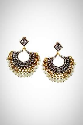 Crystal Pearl Embellish Earrings
