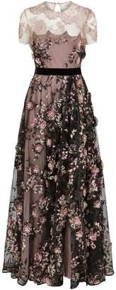 Talbot Runhof Floral Lace Midi Dress