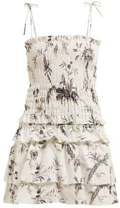Sir - Marle Floral Ruffle Mini Dress - Womens - White Multi