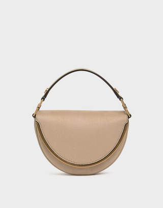 Charles & Keith Textured Top Handle Semi-Circle Bag