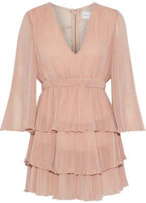 Alice McCall You Kissed Me Tiered Plissé Chiffon Mini Dress