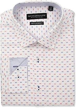 Nick Graham Men's Modern Fitted Square Dot Print Stretch Dress Shirt