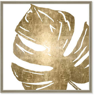 Oliver Gal Tropical Leaves Square I Gold Metallic By The Artist Co. Framed Art
