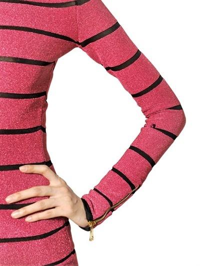 Balmain Striped Lurex & Viscose Knit Dress