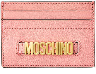 Moschino Logo Plaque Leather Card Holder