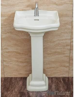 "Fine Fixtures Roosevelt Vitreous China 19"" Pedestal Bathroom Sink with Overflow Fine Fixtures"