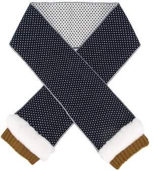 Yves Salomon Enfant patterned striped trim scarf