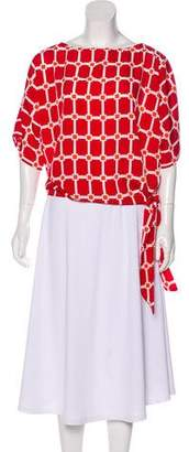 MICHAEL Michael Kors Printed Short Sleeve Blouse