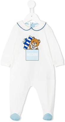 Moschino Kids teddybear logo romper suit