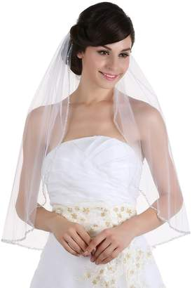SAMKY 1T 1 Tier Crystals Pearls Beaded Wedding Veil