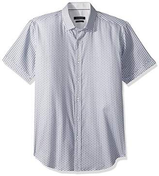 Bugatchi Men's Fitted Short Sleeve Printed Stars Woven Shirt