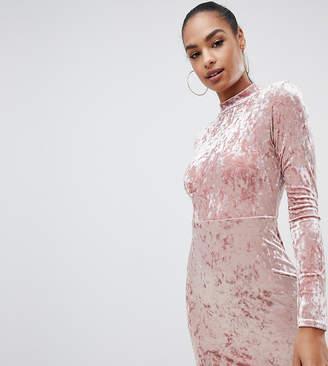 PrettyLittleThing exclusive velvet bodycon dress in pink