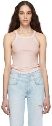 RE/DONE Pink Ribbed Tank Top