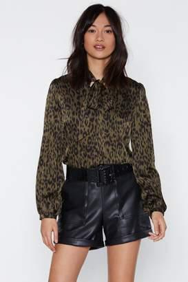 Nasty Gal Jungle Boogie Satin Leopard Top
