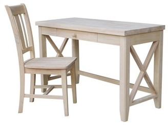 INC International Concepts Hampton Solid Wood Desk and Chair Set - Unfinished