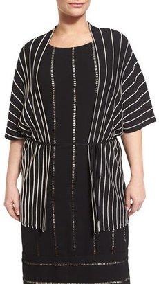 Marina Rinaldi Mito Short-Sleeve Striped Belted Jacket, Plus Size $505 thestylecure.com
