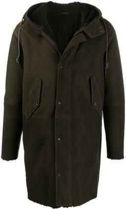 Closed leather hooded coat