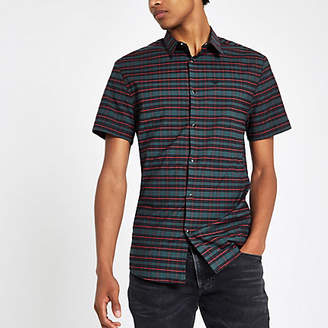 River Island Green check embroidered short sleeve shirt