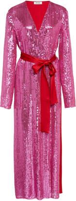 ATTICO Belted Sequined Satin Midi Dress