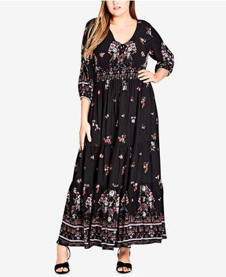 City Chic Trendy Plus Size Peacock-Print Maxi Dress