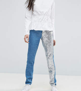Noisy May Tall Mom Jean With Sequin Panel Detail
