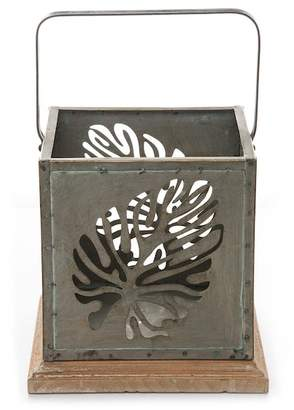 Foreside Home & Garden Green/Brown Small Palm Leaf Square Lantern