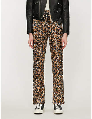 The Kooples Animal-print loose-fit satin trousers