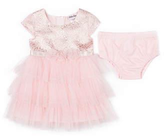 Little Lass Short Sleeve Tulle Dress - Baby Girls