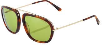 Tom Ford Plastic/Metal Havana Aviator Sunglasses