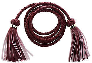 C. Wonder Faux Leather Braided Tie Beltwith Tassels