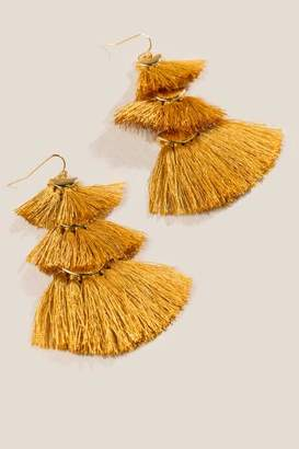 francesca's Larissa Tassel Statement Drop Earrings - Marigold