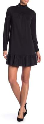 Kensie Ruffle Hem Long Sleeve Mock Neck Dress