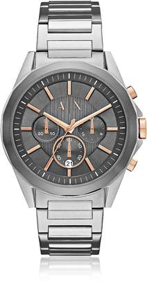 Armani Exchange Drexler Grey Dial and Silver Tone Stainless Steel Men's Chronograph Watch