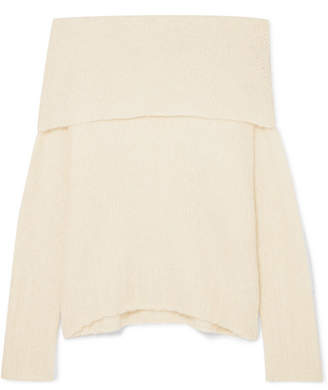 Vince Off-the-shoulder Alpaca-blend Sweater - Cream