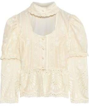 Anna Sui Cutout Broderie Anglaise Cotton Peplum Blouse