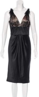Carmen Marc Valvo Feather-Accented Evening Dress