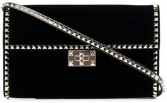 Valentino black Rockstud No Limit studded velvet clutch