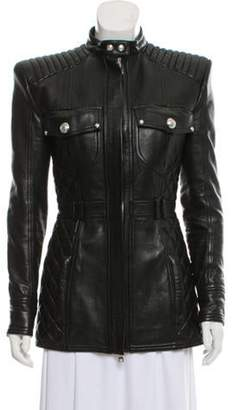 Balmain Leather Structured Jacket Black Leather Structured Jacket