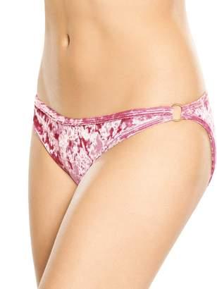 Rare Crushed Velvet Ring Detail Bikini Bottom - Pink