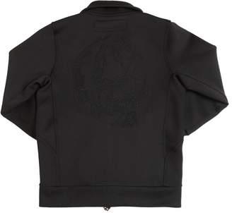 Skull Embroidered Stretch Track Jacket