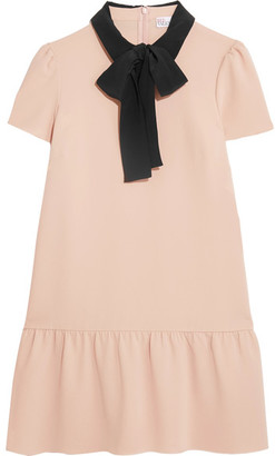 REDValentino - Pussy-bow Silk-trimmed Crepe De Chine Mini Dress - Pink $575 thestylecure.com