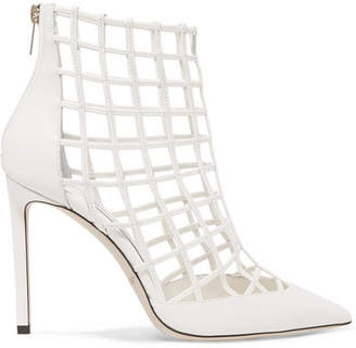 Jimmy Choo Sheldon 100 Cutout Leather Ankle Boots - White