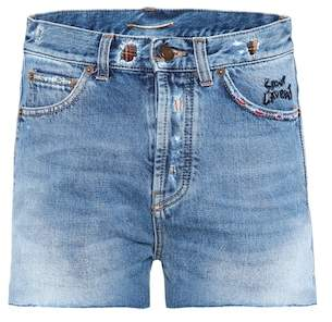 Saint Laurent Embroidered denim shorts