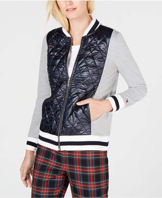 Tommy Hilfiger Quilted-Front Knit Bomber Jacket