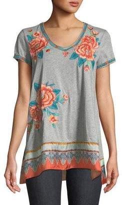 Johnny Was Aveline Scarf-Flounce Tunic, Plus Size