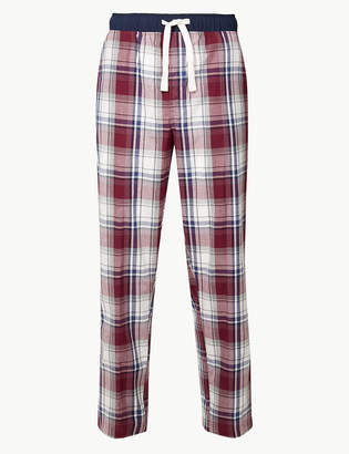 M&S CollectionMarks and Spencer Pure Cotton Checked Long Pyjama Bottoms