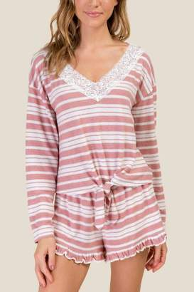 francesca's Lora Striped Lace Tie Front PJ Top - Light Rose
